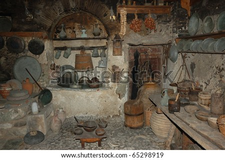 Old traditional kitchen in monastery, Meteora, Greece