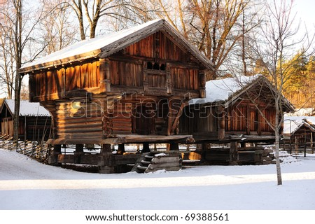 Old traditional Norwegian huts in Oslo - stock photo