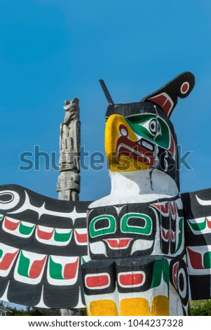 old traditional wooden totem masks in Canada #1044237328