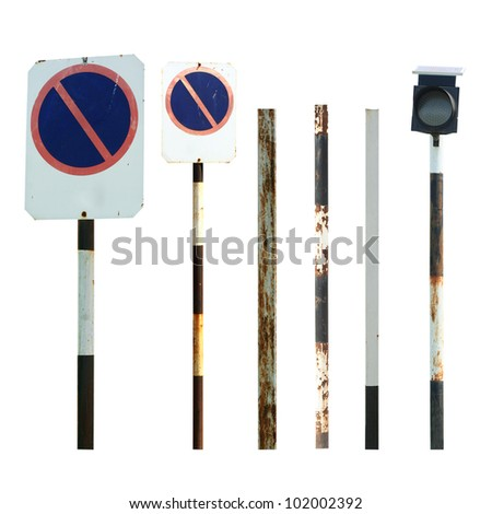 Old traffic sign and pole collections