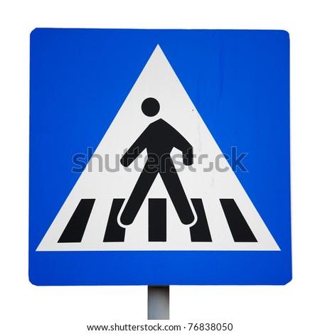 Old traffic sign. pedestrian crossing