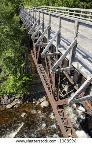 Old train bridge. Now is part of bicycle route. Quebec, Canada