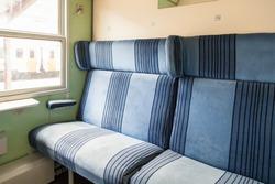 Old train cabin interior. Old train carriage. Inside The wagon train Bulgaria,