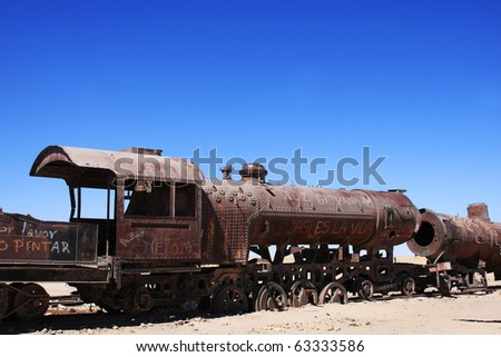 old train in uyuni in bolivia