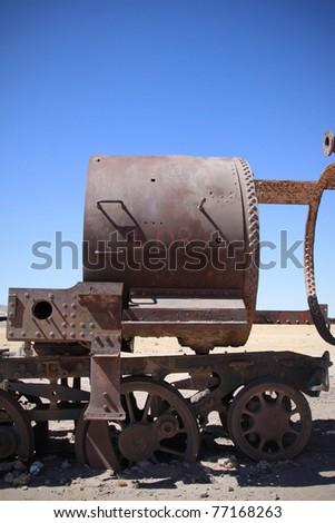 old train in uyuni salar in bolivia