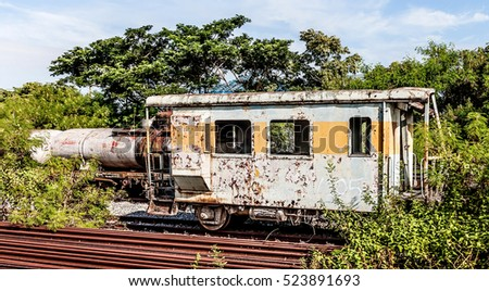 Stock Photo Old train wagon on a lost place