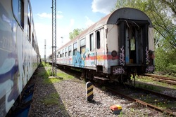 old train with graffiti