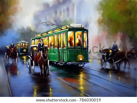 Old tram, oil paintings landscape, city, retro. Fine art.