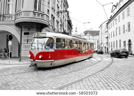 Old tram on Prague street.