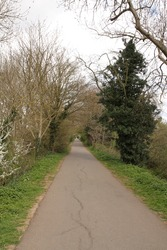 Old Tramway Footpath, Stratford Upon Avon, Warwickshire, UK, in the Early Spring with no People on the Path.