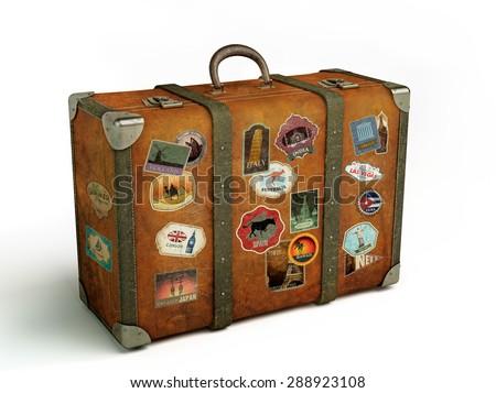 old travel suitcase isolated on white Stock photo ©