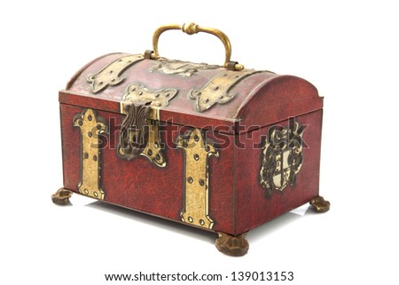 Old treasure chest closeup isolated over white