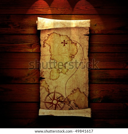 old treasure map on a wooden background