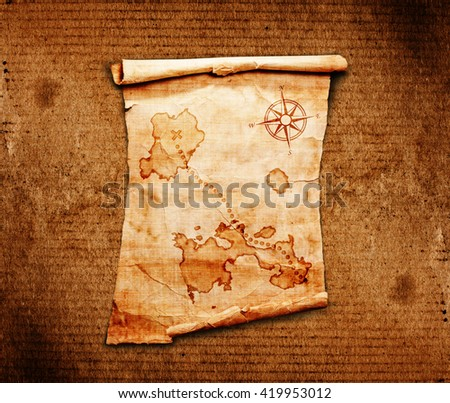 Old Treasure Map On A Wooden Grunge Background 419953012