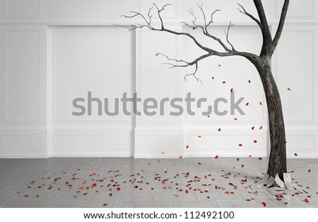 Old tree with falling leaves in a white room. With one remaining green leaf. With leaves on a wooden floor