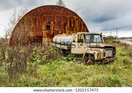 Old truck. .Abandoned collective farm. Russia, Tula region.