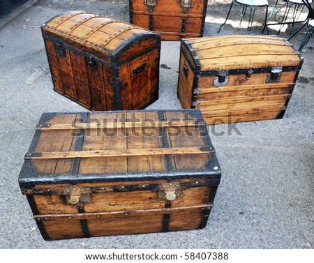 old trunks  in Flea market in Languedoc Roussilon