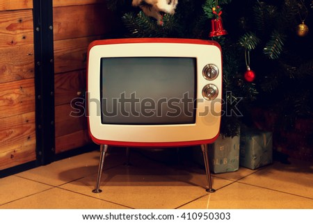 Old TV in  a room with wooden wall. #410950303