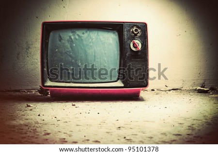 Old TV in room. Retro style colors.