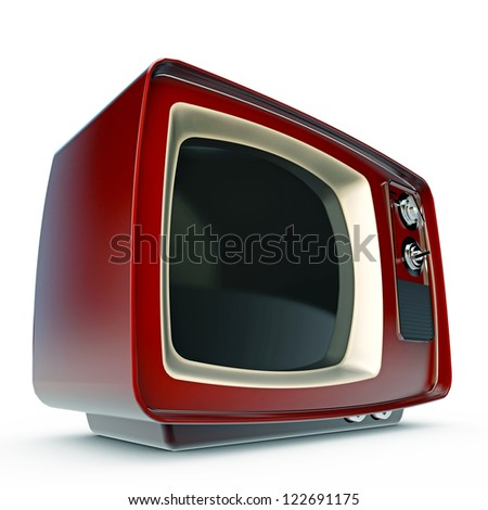 old tv isolated on white background