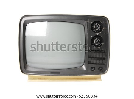 Old TV isolated on white.with path