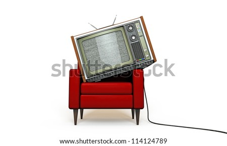 old tv relaxing in a red armchair isolated on white background