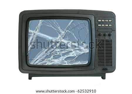 old tv-set with broken screen isolated