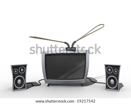 Old tv with speakers in cartoon style. Isolated.