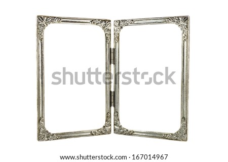 old twin aluminium frames with hinge on white background