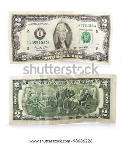 Old two bucks banknote isolated on white background, with clipping path