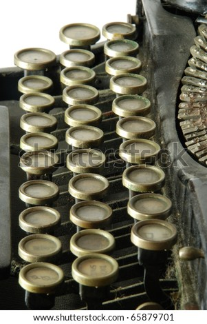 "Old Typewriter, a mechanical  device with a set of ""keys"" that, when pressed, cause characters to be printed on a medium, usually paper. #65879701"