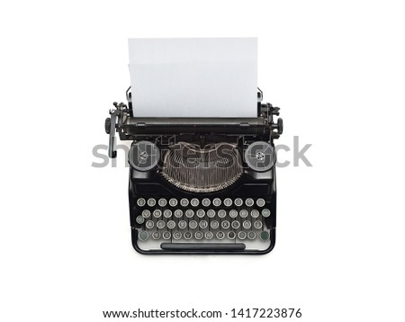 Old Typewriter and a blank sheet of paper inserted. Isolated on White Background. High Resolution. Top view. #1417223876