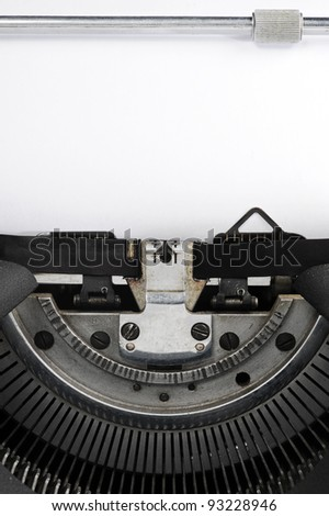 old typewriter close up: page blank