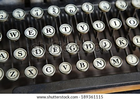 Old typewriter closeup o keys