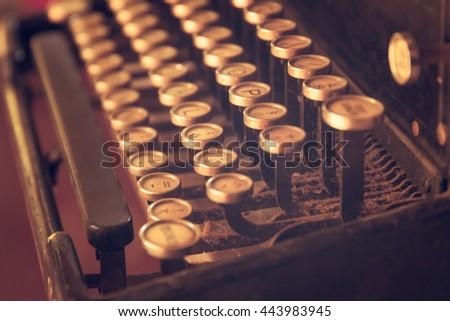 Old Typewriter.  Closeup vintage typewriter in soft focus