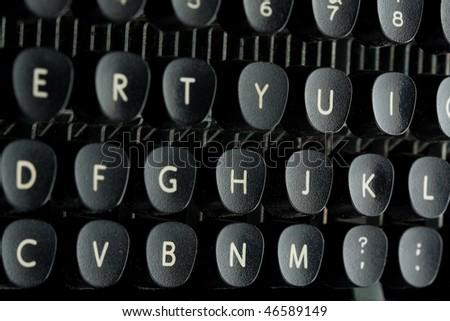 Old typewriter keyboard close up