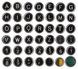 Old typewriter keys, alphabet and numbers, isolated on white background