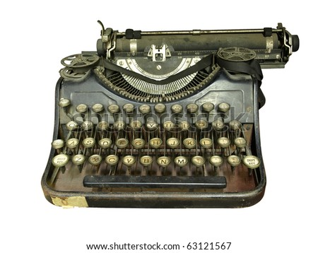 Old typewriter on isolated background