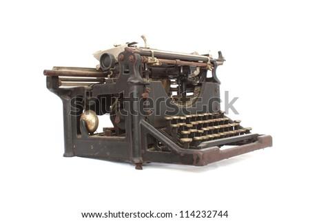 Old typewriter on white