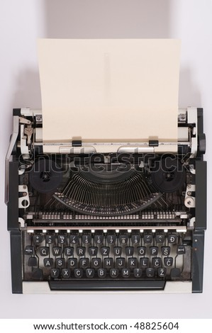 Old typewriter with paper in it