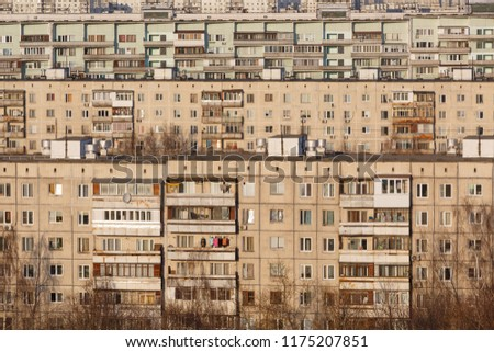 Old typical panel apartment buildings as a background or backdrop