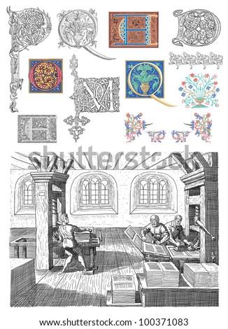 Old typography workshop illustration