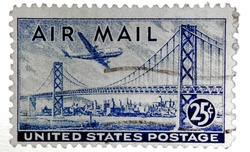 Old U.S. airmail postage stamp