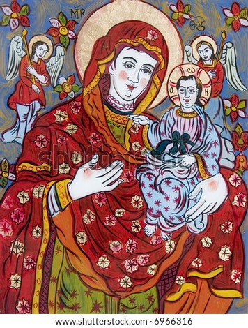 old ukrainian folk glass icon