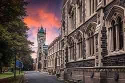 Old university building and colourful sunset