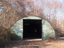 old unused bunker door way shed outside land; essex; england; uk