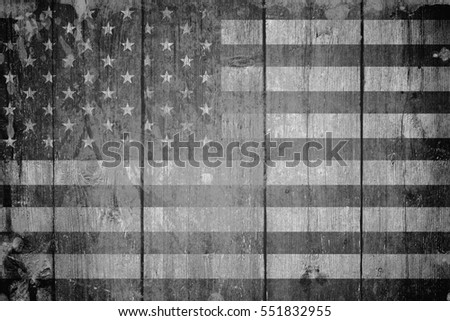 Old usa flag on grey background