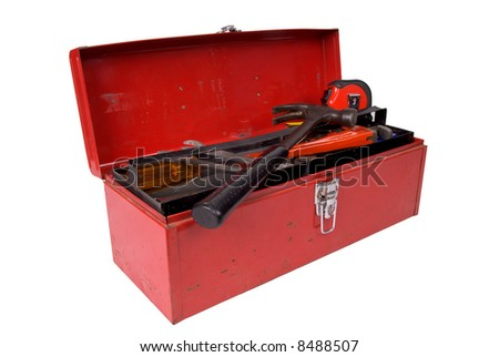 Old used and rusty tools in a red toolbox over a white background