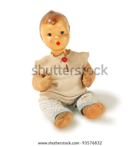 old used antique doll boy isolated
