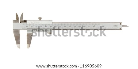 Old used caliper (an instrument for measuring) isolated on white - stock photo
